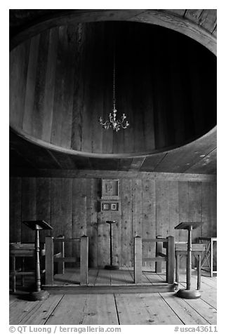 Inside chapel, Fort Ross Historical State Park. Sonoma Coast, California, USA (black and white)
