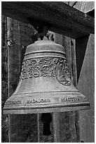 Bell with inscriptions in Cyrilic script, Fort Ross Historical State Park. Sonoma Coast, California, USA (black and white)