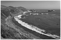 Beach and turquoise waters, late summer. Sonoma Coast, California, USA (black and white)