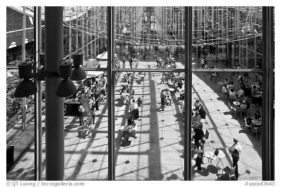 Piazza, California Academy of Sciences. San Francisco, California, USA (black and white)