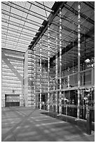 Building entrance, California Academy of Sciences, Golden Gate Park. San Francisco, California, USA (black and white)