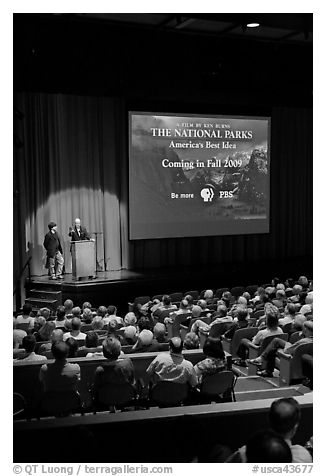 Dayton Duncan and Ken Burns present new  film, Cowell Theater, Fort Mason Center. San Francisco, California, USA (black and white)