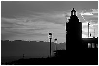 Lighthouse, yacht club, sunrise. San Francisco, California, USA (black and white)