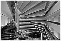 Modernistic architecture, Hyatt Grand Regency. San Francisco, California, USA (black and white)