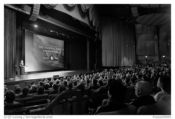 Palace of Fine Arts Theater, with Dayton Duncan presenting new documentary film. San Francisco, California, USA (black and white)