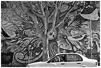 Man sitting in car, mural, and tree, Mission District. San Francisco, California, USA ( black and white)