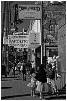 Mission street sidewalk, Mission District. San Francisco, California, USA ( black and white)