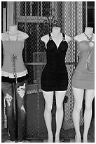 Manequins and grid, Mission District. San Francisco, California, USA (black and white)