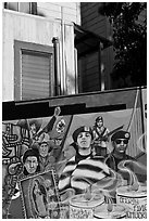 Political mural and facade detail, Mission District. San Francisco, California, USA ( black and white)