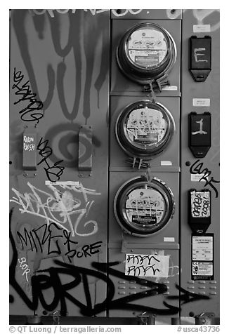 Utility meters, Mission District. San Francisco, California, USA (black and white)