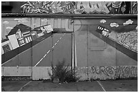 Floor and garage door with painted road, Mission District. San Francisco, California, USA ( black and white)