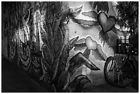 Bicycle and last light on mural, Mission District. San Francisco, California, USA ( black and white)