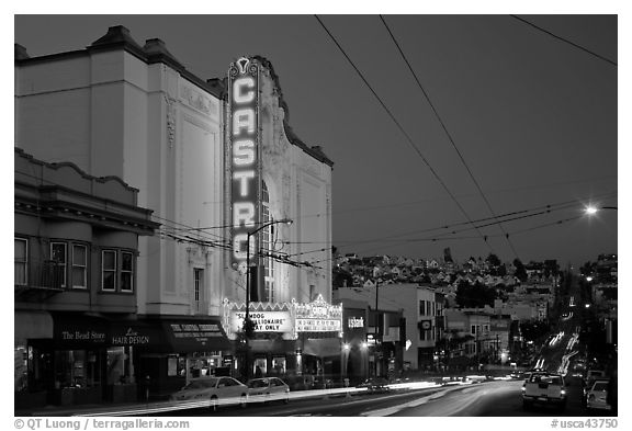 Castro Theater and Castro Street at dusk. San Francisco, California, USA (black and white)