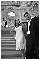 Couple waiting to be married, City Hall. San Francisco, California, USA (black and white)