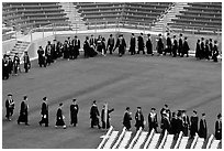Class of 2009 lines up to seat for commencement. Stanford University, California, USA ( black and white)