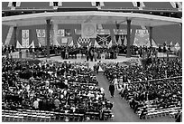 Beginning of commencement ceremony. Stanford University, California, USA ( black and white)