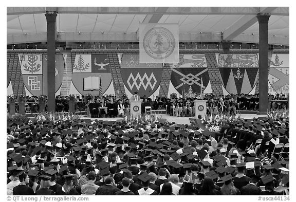 University President addresses graduates during commencement. Stanford University, California, USA (black and white)