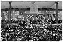 University President addresses graduates during commencement. Stanford University, California, USA ( black and white)