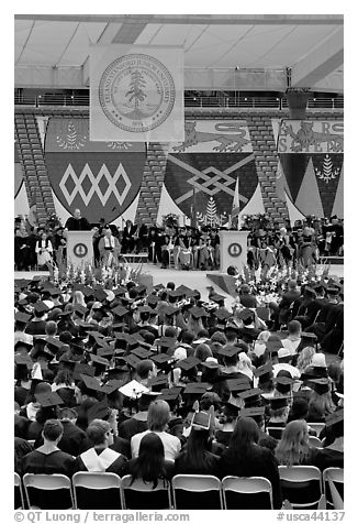 Justice Anthony Kennedy address new graduates at commencement. Stanford University, California, USA (black and white)