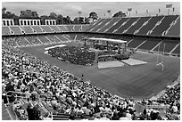 Commencement taking place in stadium. Stanford University, California, USA ( black and white)