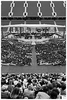 Class of 2009 commencement. Stanford University, California, USA (black and white)