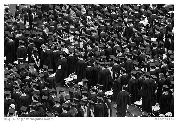 Rows of graduates in academic costume. Stanford University, California, USA