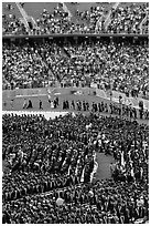 Graduates, exiting faculty, and spectators, commencement. Stanford University, California, USA ( black and white)