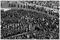 Graduation ceremony. Stanford University, California, USA (black and white)