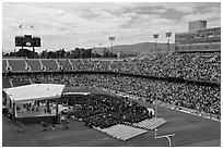Stanford Stadium during graduation ceremony. Stanford University, California, USA (black and white)