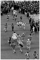 Band members run at the end of commencement ceremony. Stanford University, California, USA ( black and white)