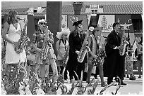 Stanford student band, commencement. Stanford University, California, USA ( black and white)