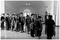 Graduates in academical regalia inside Memorial auditorium. Stanford University, California, USA ( black and white)