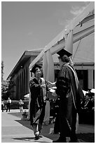 Student receiving handshake prior diploma award. Stanford University, California, USA ( black and white)