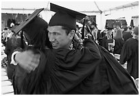 Just graduated students hugging each other. Stanford University, California, USA ( black and white)