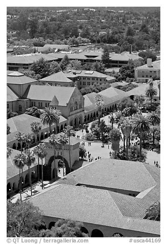 Memorial Church and Quad seen from above. Stanford University, California, USA (black and white)