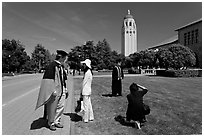 Conversation and picture taking after graduation. Stanford University, California, USA (black and white)