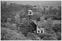 Hills and Kennedy Mine structures, Jackson. California, USA (black and white)
