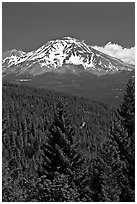 Mount Shasta seen from Castle Crags State Park. California, USA ( black and white)