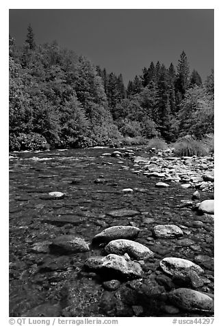 Clear Sacramento River, Castle Crags State Park. California, USA (black and white)