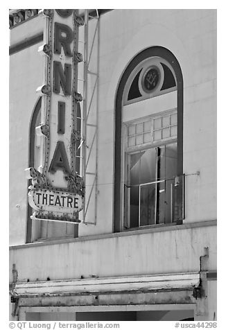 California Theater facade detail, Dunsmuir. California, USA (black and white)
