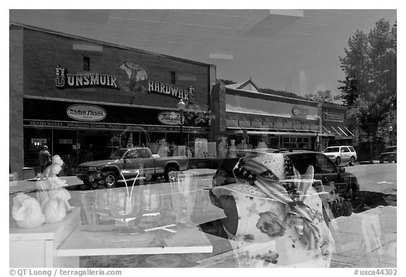 Reflections in store window, Dunsmuir. California, USA (black and white)