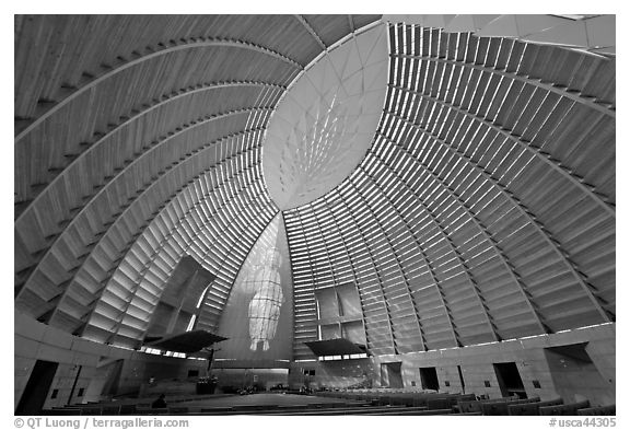 Worship space in vesica pisces shape, Cathedral of Christ the Light. Oakland, California, USA (black and white)