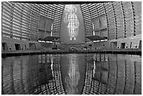 Interior reflected in Baptismal font, Oakland Cathedral. Oakland, California, USA (black and white)