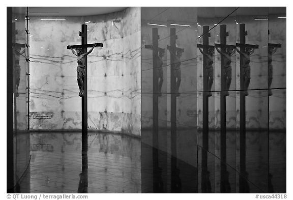 Christ and reflections, mausoleum, The Cathedral of Christ the Light. Oakland, California, USA (black and white)