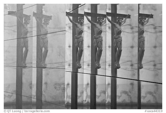 Multiple reflections of Christ, mausoleum, Christ the Light Cathedral. Oakland, California, USA (black and white)
