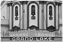 Detail of art deco facade, Grand Lake theater. Oakland, California, USA (black and white)