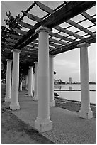 Colonade on Lake Meritt shore. Oakland, California, USA (black and white)