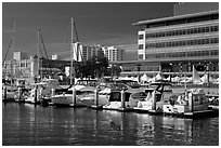Marina and yachts, Jack London Square. Oakland, California, USA (black and white)