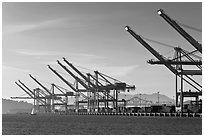 Port of Oakland. Oakland, California, USA (black and white)