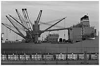 Freight Vessel with cranes. Alameda, California, USA (black and white)